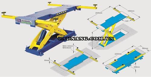 Mặt cắt thiết bị cầu nâng kiểu cắt kéo