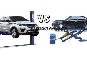 Khác nhau giữa cầu nâng cắt kéo và cầu nâng 2 trụ